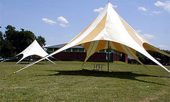 Festive Star shaped canopy sets the mood for any party and attracts lots of attention to special sales events. The center pole is a full 19u0027 6  high with ... & DeLand Rents Tents